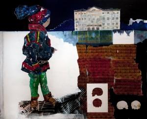 A. Allt som går att mäta är inte vetenskap 2013 122x150cm oil, acryl spray , collage on mdf